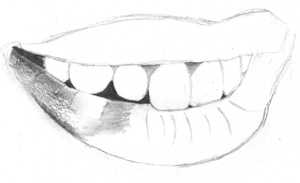 drawing realistic mouth and teeth with pencil