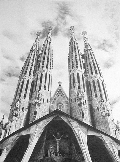 Sagrada Familia Pencil Drawing